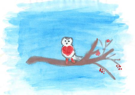 Kinderzeichnung eines kleinen Gimpel auf dem Zweig im Winter