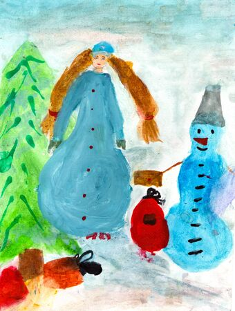 maiden: illustration of a childs watercolor drawing of winter new year landscape with Snow Maiden Stock Photo