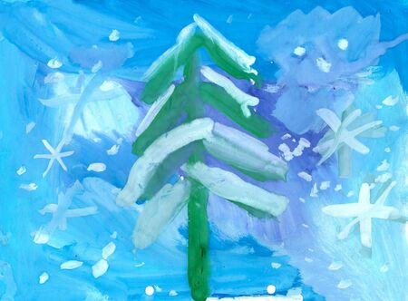 illustration of a childs watercolor drawing of winter new year landscape Stock Photo