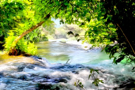 rocky road: Background watercolor painting of a grassy field road, mountains and Rocky waterfall in the river rapids