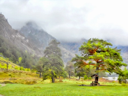 grassy field: Background watercolor painting of a grassy field road, mountains and river