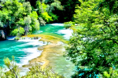 hill distant: Watercolor illustration mountain landscape with the magical world of emerald plants, waterfall and lake.