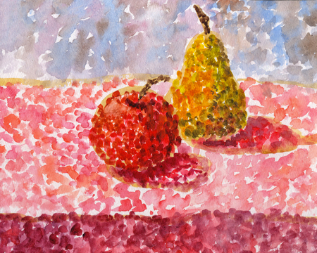 and technique: still life of pears and apples on the table, smear technique, gouache drawing on paper
