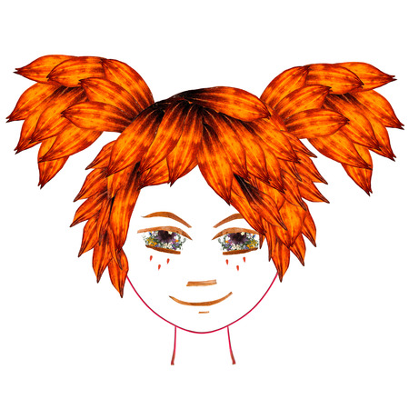 Application, face made of dried pressing multicolor Columbine flowers, long stiff brown iris. Girl with orange hair tails sticking out in different directions from elm and red transparent leaves Stock Photo