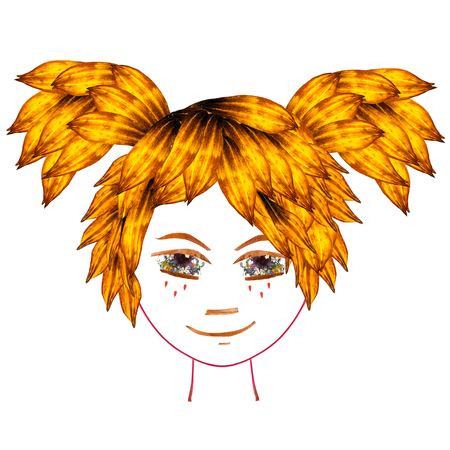 Application, face made of dried pressing multicolor Columbine flowers, long stiff brown iris. Small yellow butterfly in orange hair from elm transparent leaves Stock Photo