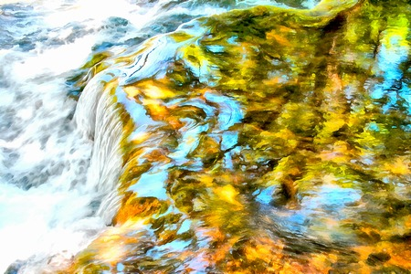 mountain stream: Background watercolor painting shore and trees reflected in a rapid mountain stream