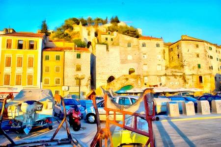mediterranean homes: watercolor painting  of burning bright in the sun orange roofs Mediterranean coastal homes