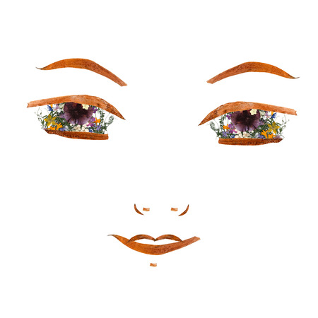 application, confident girl face made of dried flowers and long stiff brown iris leaves Stock Photo