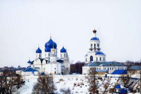 monastery: Winter frosty day view of the old russian monastery. blue and white photo manipulation.