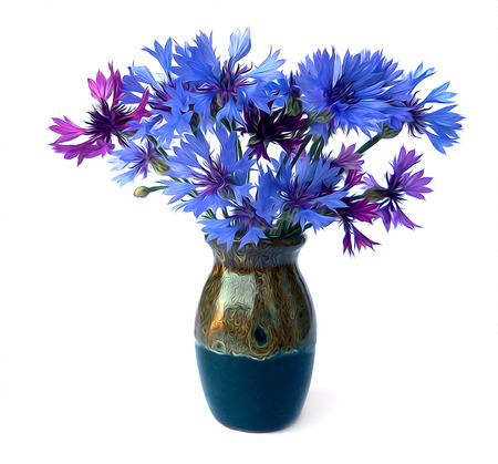 cornflower: photo manipulation oil paint blue cornflower perspective, delicate flowers and petals isolated on white background in a small ceramic vase