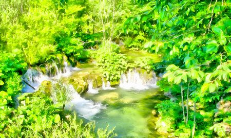hill distant: Background watercolor painting of a green banks of the mountain stream and Rocky waterfall in the river rapids