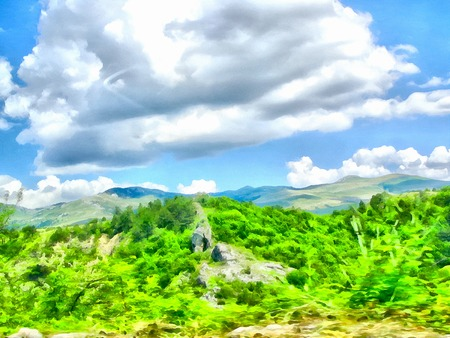 Background watercolor painting of a grassy mountains hill, photo manipulation