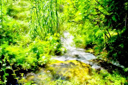 Background watercolor painting of a green banks of the mountain stream and Rocky waterfall in the river rapids
