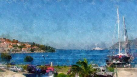 mediterranean homes: watercolor painting of Mediterranean bay indoor mountain range with coastal homes, moored boat