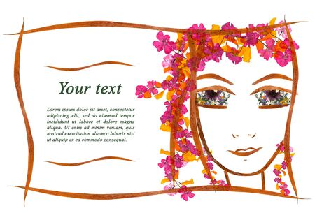 substrate: invitation with a picture of the girls face contour, applique  made of  dry geranium flowers and leaves with  place for text