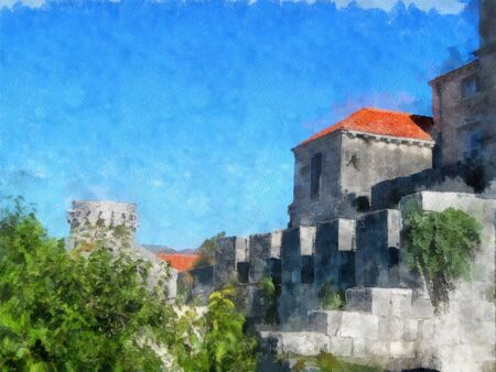 in monastery: watercolor painting of view of the ancient walls of the fortress; photo manipulation Stock Photo