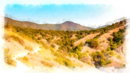 Background watercolor painting view of the Crimea mountain  landscape from the hilltop photo manipulation