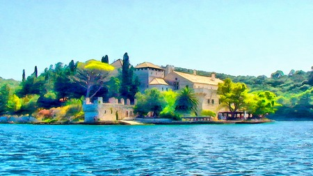 watercolor painting  of Mediterranean monastery on the island Stock Photo