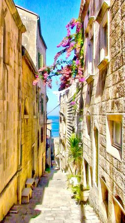 cobbled: watercolor painting  of narrow cobbled streets decorated with flowers, pavement staircase rises, passes under the arches of old houses