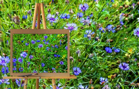 hillside: Easel with a painting watercolor illustration of Altai Mountains on a variegated blue cornflower bed in the early morning, floral background Photo manipulation concept. Stock Photo