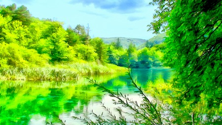 Watercolor summer illustration mountain landscape with the magical world of emerald plants, waterfall and lake.