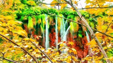 brook: Watercolor autumn illustration mountain landscape with the magical world of emerald plants, waterfall and lake.