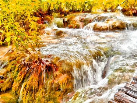 Watercolor autumn illustration mountain landscape with the magical world of emerald plants, waterfall and lake.