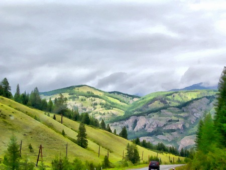 Background watercolor painting of a grassy field road, mountains and river