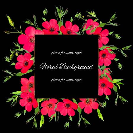 pink columbine: background texture made of pink purslane and place for text