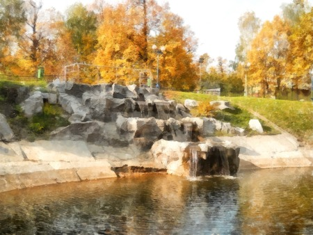Bright yellow autumn park with waterfall. Reflected  trees and blue sky in pond. Watercolor Stock Photo