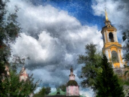 Old Bell tower, peaks of church domes against a stormy sky, watercolor