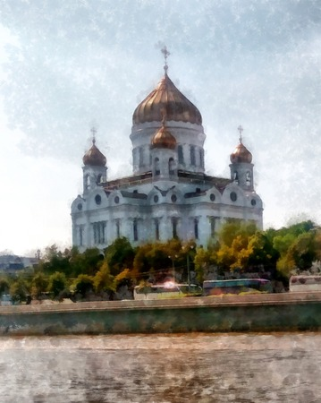 orthodoxy: Cathedral of Christ the Savior on the river bank in cloudy day watercolor Moscow sights, view from the Moskva River, watercolor drawing, illustration