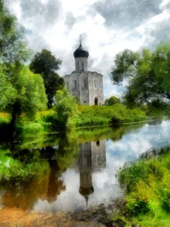 Old church on the river bank in cloudy day watercolor