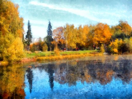 Bright yellow autumn park with reflected trees and blue sky in pond. Watercolor Stock Photo