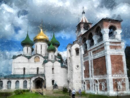 water reflection: Old church, domes with high carved crosses shine in the sun, watercolor