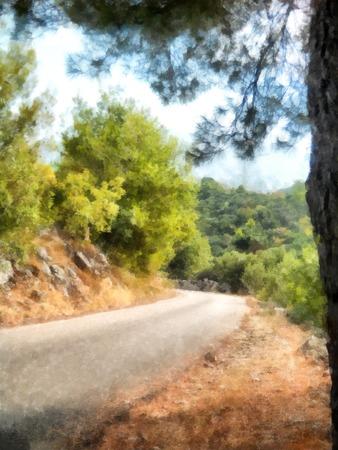 mediterranean homes: watercolor painting of  road, indoor mountain range, blue sky