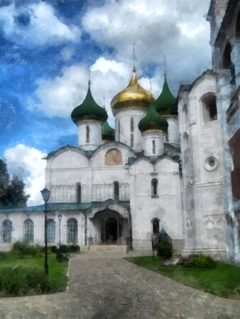 in monastery: Old church, domes with high carved crosses shine in the sun, watercolor