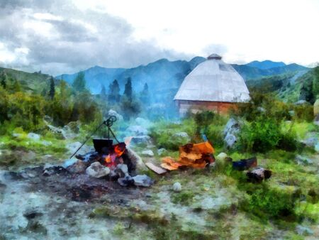 boils: Parking in the mountains, near the yurta, BBQ, firewood, on the fire in the cauldron boils water Stock Photo