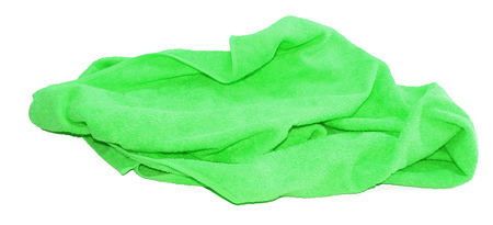 colorful green towel isolated on a white background
