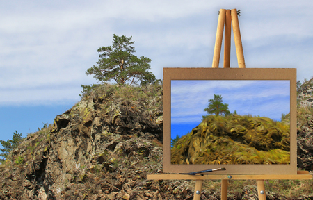 tall grass: Easel with a painting watercolor illustration of Altai Mountains on a canvas on a landscape.   Photo manipulation concept. Stock Photo