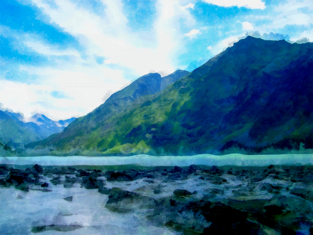 Background watercolor painting of a grassy mountains hill and river, photo manipulation
