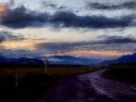 Autumn evening illustration.  Dark clouds empty road in the mountains