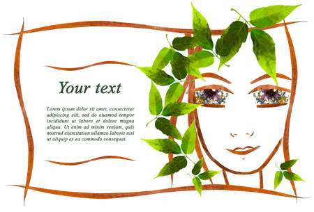 invitation with a picture of the girls face contour, applique  made of flowers and leaves with  place for text