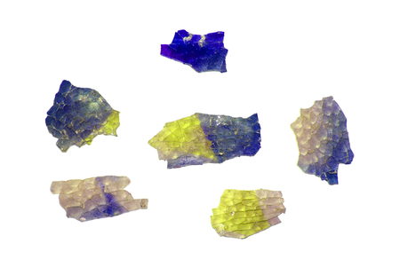 Shards of colored glass scattered on the white surface