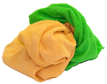 colorful towel isolated  lie a bunch on white background