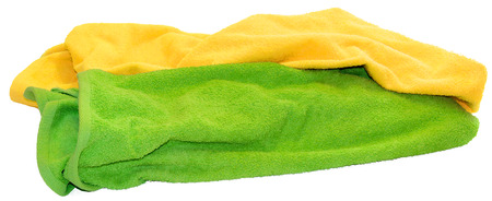 microfiber: colorful towel isolated  lie a bunch on white background