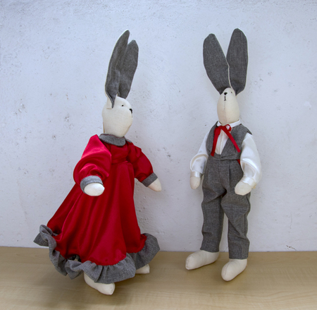lapin: cute rabbits, a couple for a walk in front of a light wall, a girl in a red satin dress and a chevalier in a gray trouser suit with a vest and a handkerchief