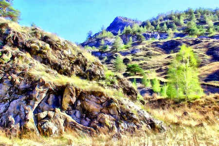 Altai mountains landscape. Digital painting illustration art for wallpaper, canvas print, decoration, banner, advertising Stock Photo