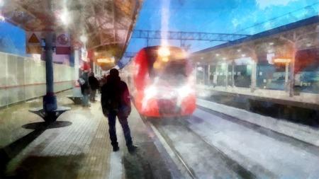 悲観的な日の冬の風景です。雪に覆われたプラットフォームの明るい赤い電車の到着します。 写真素材