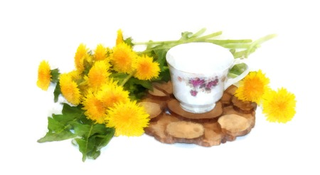 A bouquet of fresh dandelions yellow hats near tea pair from a saucer cup of Old porcelain service on a juniper stand. watercolor still life on paper Stock Photo